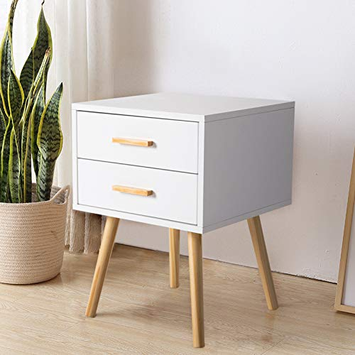 Peach Tree Side End Table Nightstand with 2 Drawers Storage Mid-Century Accent Wood Furniture, White/Wooden by Peachtree Press Inc (Image #1)