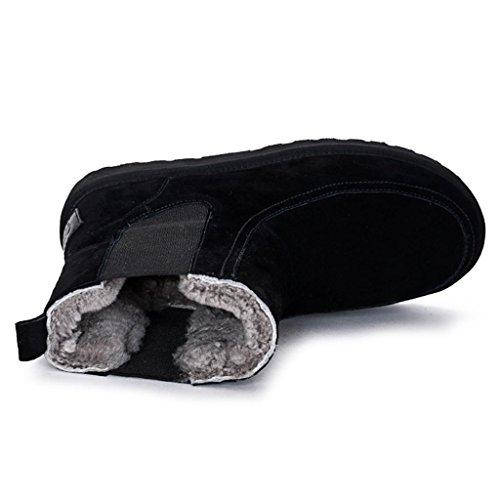 Femelle XUANShoe Ronde Black Aide Bottes Taille Cuir Grande Court Bottes Bottes Tube véritable Tête Haute Simples 4BAAFqZd