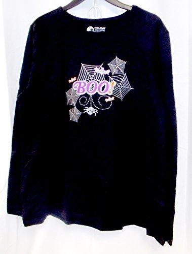 K-mart Black Long Sleeve Halloween Shirt Purple Silver Glitter Boo S NWT