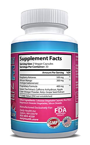 Raspberry Ketones Lean African Mango Blend 1200 mg per Serving 60 Capsules Weight Loss Diet Management Support Supplement (6) by Daily Health (Image #1)