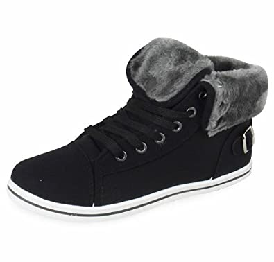WOMENS BLACK LACE-UP PLIMSOLLS HI-TOP CASUAL TRAINERS BOOT SHOES SIZES 3-8