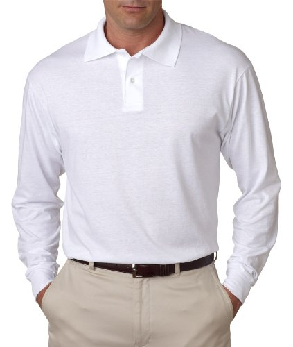 Jerzees mens 5.6 oz. 50/50 Long-Sleeve Jersey Polo with SpotShield(437ML)-WHITE-XL