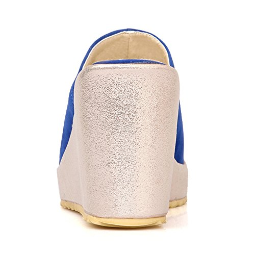 Classic Women Wedges Sandals Blue TAOFFEN Mules 5aq75d