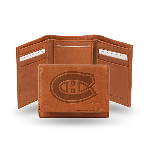 Rico Industries NHL Montreal Canadiens Embossed Leather Trifold Wallet, Tan