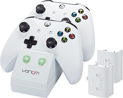 Venom Xbox One Twin Docking Station with 2 x Rechargeable Battery Packs: White -