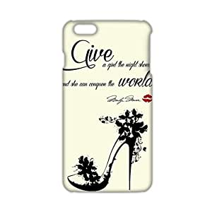2015 Ultra Thin Marilyn Monroe give a girl the right shoes Quote 3D Phone Case for iPhone 6 Plus