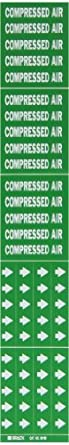 """Brady 7059-3C 2-1/4"""" Height, 2-3/4"""" Width, 3/4"""" Or Less Outside Pipe Diameter, B-946 High Performance Vinyl, White On Green Color Self-Sticking Vinyl Pipe Marker Legend """"Compressed Air"""""""