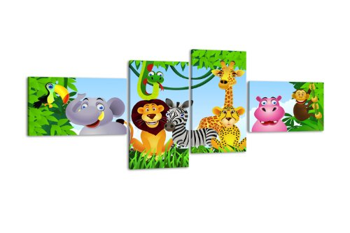 Leinwandbild Animal Group LW404 Wandbild, Bild auf Leinwand, 4 Teile, 100x45cm, Kunstdruck Canvas, XXL Bilder, Keilrahmenbild, fertig aufgespannt, Bild, Holzrahmen, Urwald, Tiere, Kinder,