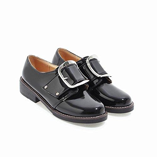 2b192d5c0a975 Carolbar Women's Western Concise Mid Heel Buckle Casual Shoes Black WCtWF  ...