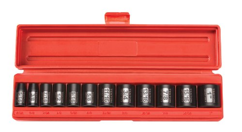 (TEKTON 3/8-Inch Drive Shallow Impact Socket Set, Inch, Cr-V, 6-Point, 5/16-Inch - 1-Inch, 12-Sockets | 47910 )