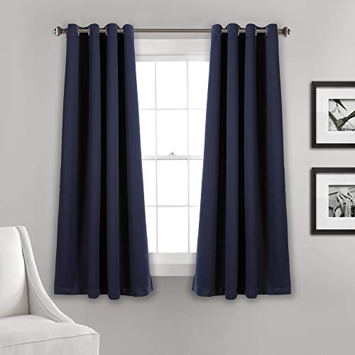 "Set of 2 (63""x52"") Insulated Grommet Top Blackout Curtain Panels Navy - Lush Décor"