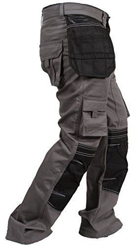 Newfacelook Mens Cargo Trousers Working Pants Cordura Knee Pockets Gray W34-L32