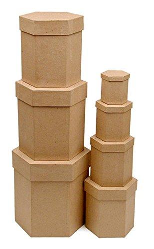 Factory Direct Craft Paper Mache Hexagon Box Set | 7 Boxes