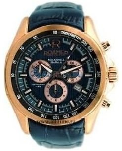 Roamer Men's Watch with Blue Dial Chronograph Display and Blue Leather Strap 220837 49 45 02