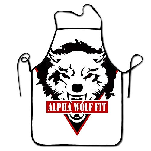 (Dawnha-Adjustable Strap Adult Kitchen Aprons-Fashion Wolf Print-Men & Women Protective Apron For Cooking,Baking,BBQ)