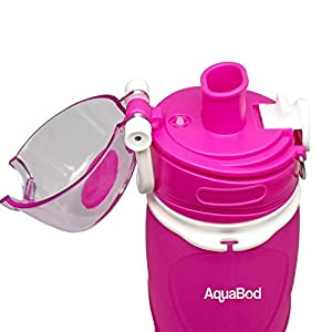 Aquabod Collapsible Water Bottle - BPA Free, 26oz, Leak Proof Silicone Foldable Sports Water Bottle, The Smart Hydration Solution