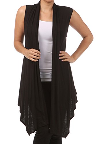 Pastel by Vivienne Women's Asymetric Open Front Vest XX-Large Black