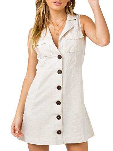 Tie Waist Linen Dress - Conmoto Women's Elegant Sleeveless Linen Dress Button Down Tie Waist Mini Dress with Pockets White 4/6