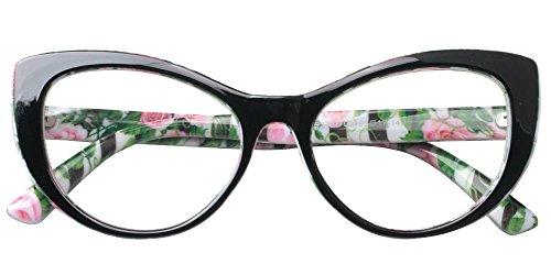 SOOLALA Womens Large Frame CatEye Prescription Glass Frame Reading Glasses, Floral, ()