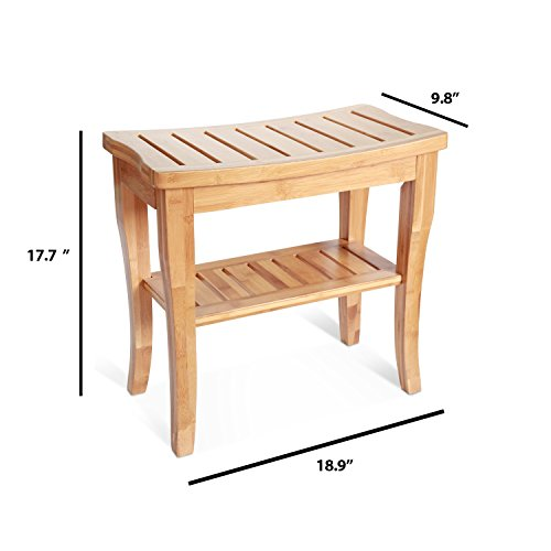 bamboo-shower-bench-seat-wooden-spa-bath-deluxe-organizer-stool-with-storage-shelf-for-seating-chair-perfect-for-indoor-or-outdoor-plus-free-value-gift-including-one-year-warranty-by-house-ur-home