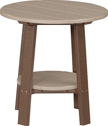 LuxCraft Recycled Plastic Deluxe End Table with Shelf, American Made, Weatherwood & Chestnut Brown