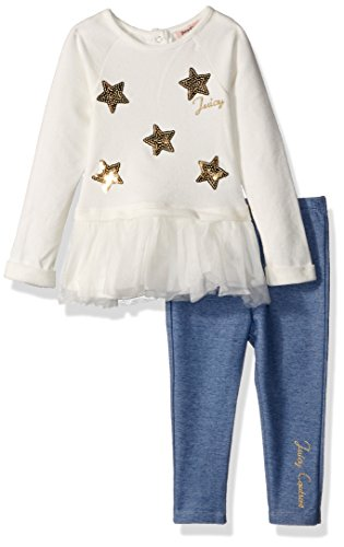 Juicy Couture Girls' Tunic Legging Set, Silent Vanilla/Knit Denim/Gold, 12M by Juicy Couture