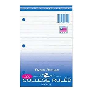Amazon.com : Roaring Spring College Ruled Filler Paper, 8.5 x 5.5 ...