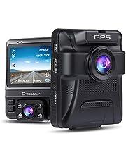 Crosstour Dashcam Lente Dobles GPS Incorporado Cámara de Coche 1080P Frontal 720P Interior Monitoreo de Estacionamiento, Detección de Movimiento Sensor G y WDR con Visión Nocturna