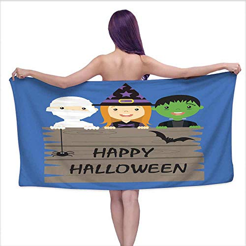 Ediyuneth Extra Long Bath Towel Halloween Costume Party with Kids,W20 xL39 for Baby Girl -
