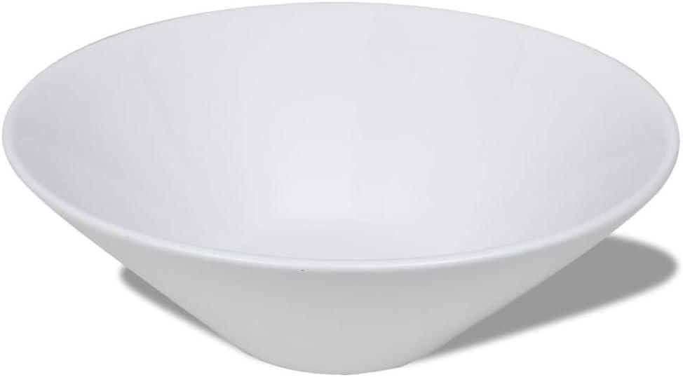 vidaXL Lavabo de Cer/ámica Porcelana de Cuarto de ba/ño Blanco Arte Bol Blanco