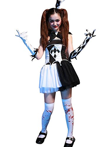 [Zando Halloween Womens Creepy Sexy Clown Fancy Dress Party Cosplay Costumes Costume (without socks) One] (The Joker Masquerade Costume)