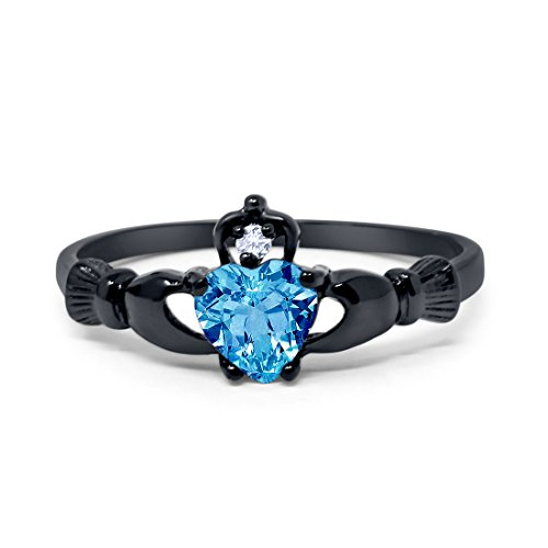 925 Sterling Silver Claddagh Ring Black Tone Rhodium Plated Simulated Blue Topaz Clear CZ Heart accent