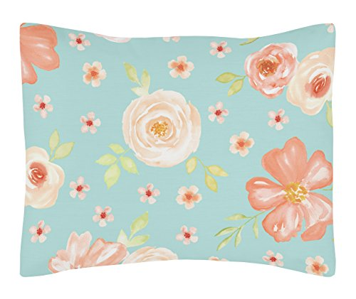 - Sweet Jojo Designs Turquoise and Peach Standard Pillow Sham for Watercolor Floral Collection - Pink Rose Flower