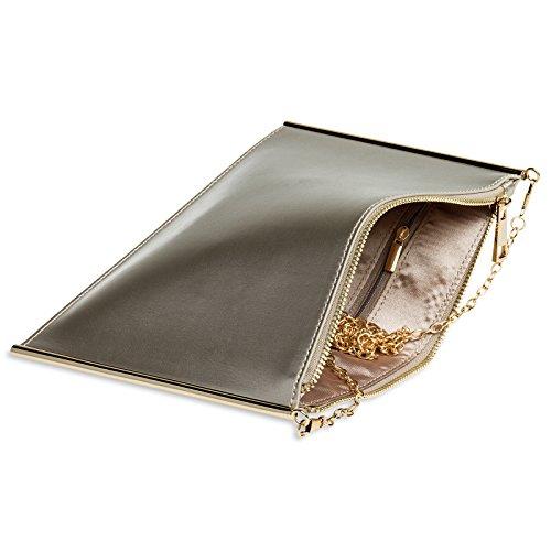 CASPAR TA406 kleine flache elegante Damen Envelope Clutch Tasche Abendtasche Champagner YgdtZp9X