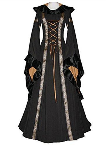 Sinastar Halloween Cosplay Women Western Medieval Square-cut Collar Long Trumpet sleeved Hooded Dresses (Medium, (Girl Medieval Costume Pattern)