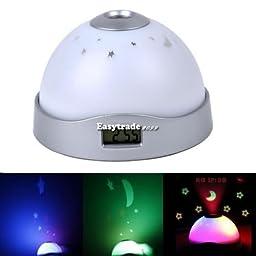 Projector Glow in Dark Night Light Lamp Bedroom Digital Snooze Alarm Clock LED