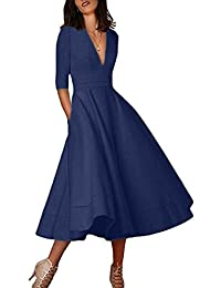 OMZIN Women Deep V Neck Banquet Bridesmaid Party Dresses Prom Gown