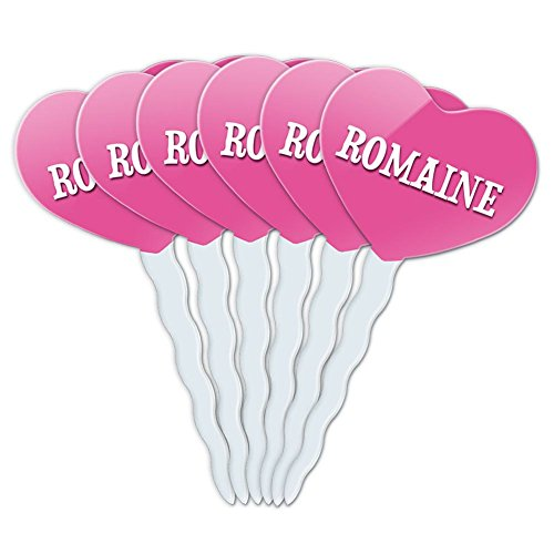 Romaine Hearts (Pink Heart Love Set of 6 Cupcake Picks Toppers Decoration Names Female Ri-Ro -)