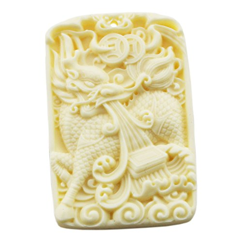 [FOY-MALL Imitation Ivory Chinese Characters Kylin Bringing Luck Pendant D1064] (Simple Character Day Costumes)