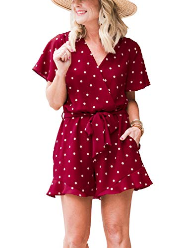 LACOZY Womens Summer Wave Point V Neck Ruffles Short Sleeve Belted Wrap Short Jumpsuit Rompers Burgundy Medium