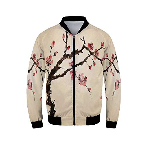 (Japanese Men's Windproof Jacket,Traditional Chinese Paint of Figural Tree with Details Brushstroke Effects Print for Outdoor,M)