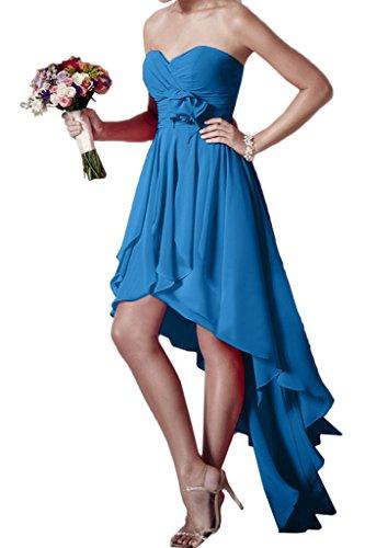 abito fiori Festa Chiffon Hi forma Donna cuore Lo ivyd Blau Party sera vestito abito Prom ressing wAqCYP