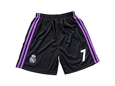 2017/2018 Real Madrid #7 Ronaldo Kids Away Black Long Sleeve Soccer Jersey & Shorts Youth Sizes