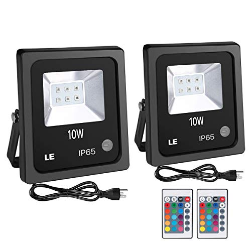 LE Outdoor Led Flood Lights, IP65 Waterproof, 10W RGB, 16 Color Changing, 4 Lighting Modes, Plug in Security Floodlights with Remote Control, for Home, Backyard, Patio, Garage, Tree, Pack of 2