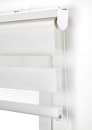 Estor Noche y día Enrollable a Medida Basic Tejido Color Blanco Roto. Medida 180cm x 180cm para Ventanas y Puertas