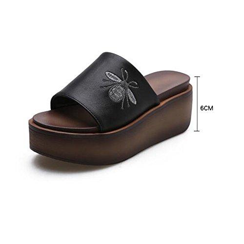 Comfortable Black female MEIDUO Slippers Fashion heel white 6cm Black summer sandals ZO67qxISw7
