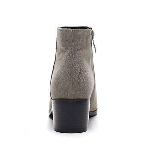 cremallera gruesas elegantes acentuadas Botas de otoño de e botas laterales invierno brown con FzTTqxPn