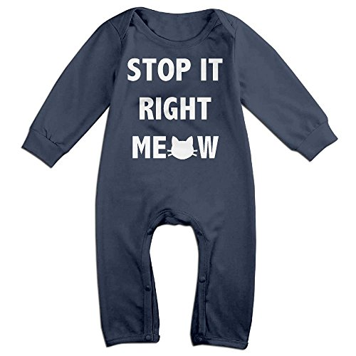 Kim Kardashian Cat Costume (Baby Infant Romper Stop It Right Meow Cat Long Sleeve Bodysuit Outfits Clothes Navy 12 Months)