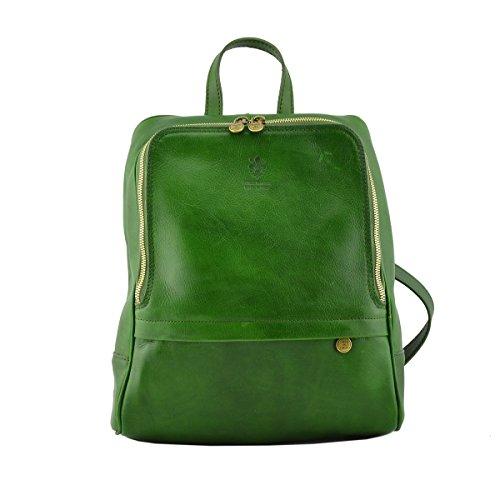 Zaino In Pelle Vera Per Uomo Con Tasca Frontale Colore Verde - Pelletteria Toscana Made In Italy - Zaino
