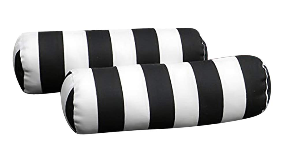 Resort Spa Home Decor Set of 2 Indoor Outdoor Decorative Bolster Neckroll Pillows – Black and White Stripe